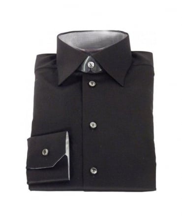 Eton Black Stretch Cotton Shirt