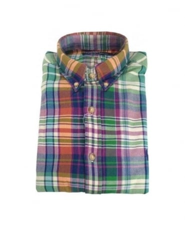 Ralph Lauren Green & Purple Check Twill Plaid Shirt