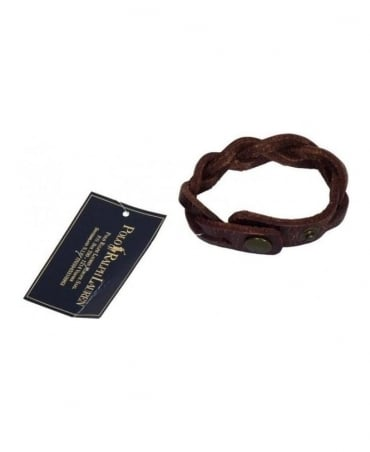 Ralph Lauren Brown Leather Braided Wrist Strap