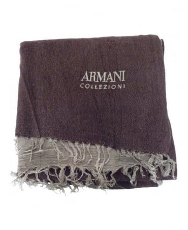 Armani Brown Virgin Wool Mix Scarf