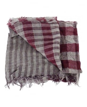 Boss Burgundy & Grey Check Nordian Scarf