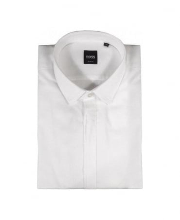 Boss White Diagonal Self Stripe Shirt