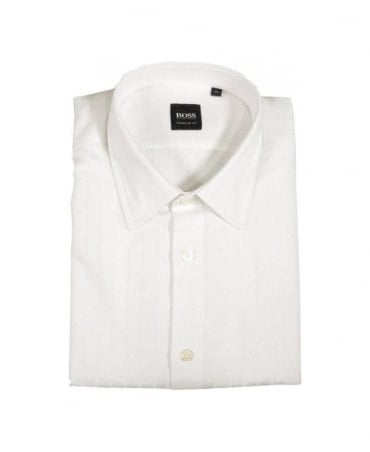 Boss Lucas-9 White Self Stripe Shirt