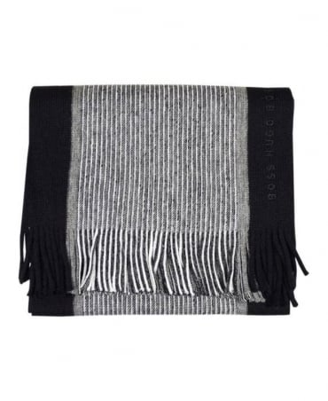 Boss Black & Grey Stripe Scarf
