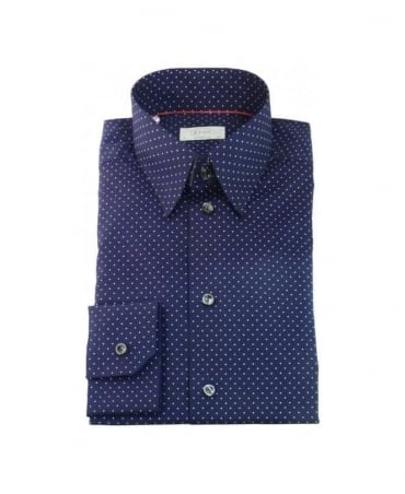 Eton Navy Polkadot Formal Shirt