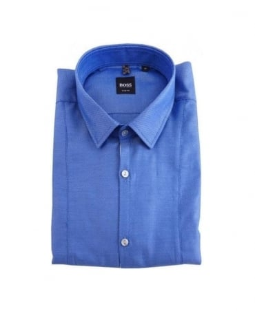 Boss Blue Pattern Small Collar Shirt