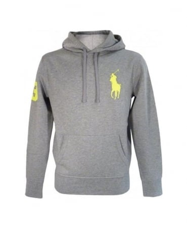 Ralph Lauren Natural Grey Heather Big Polo Player Hooded Fleece