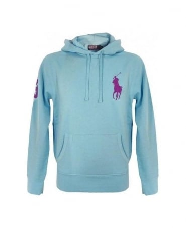 Ralph Lauren French Turquoise Big Polo Player Hooded Fleece