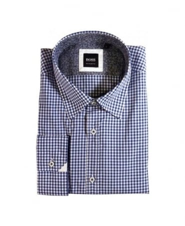 Boss Blue Gingham Check Obert Shirt