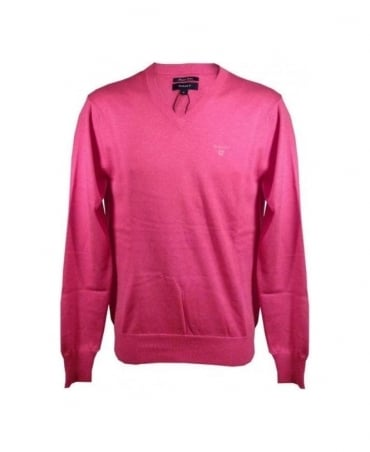 Gant Raspberry LT Cotton V-Neck Knitwear