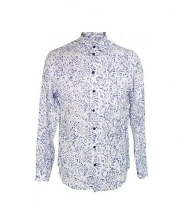 Armani White & Purple Floral Linen Shirt