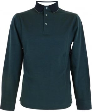 Hackett 2 Tone Pique Long Sleeved Polo Shirt In Green