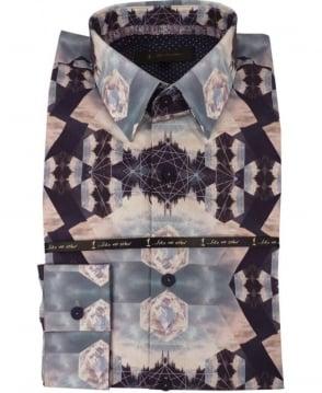 1 ...Like No Other 2850S Navy Tesla Print Shirt