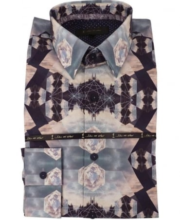1 ...Like No Other 2850S Navy Tesla Print Shirt