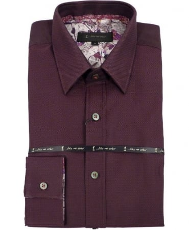 2891S Burgundy Beam Jacquard Shirt