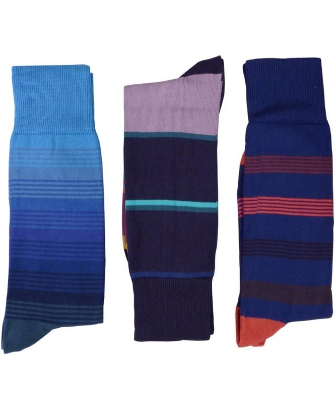 Paul Smith - Accessories 3 Pack AXX/SOCK/PACK Blue Stripe Socks