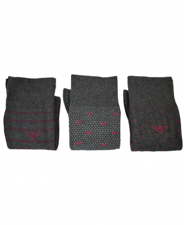 3 Pack Dark Grey Patterned Socks
