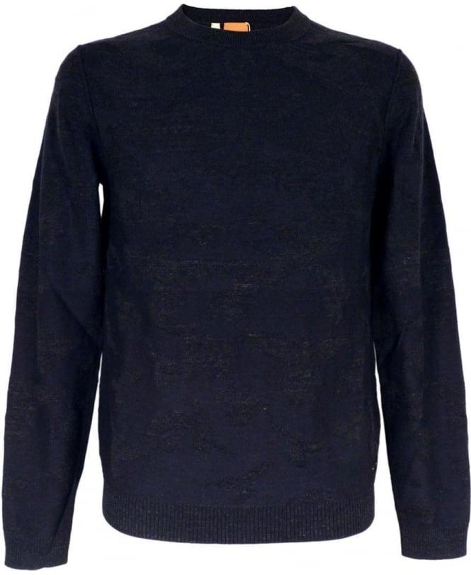 Hugo Boss 'Alphon' Patterned Sweater In Dark Blue