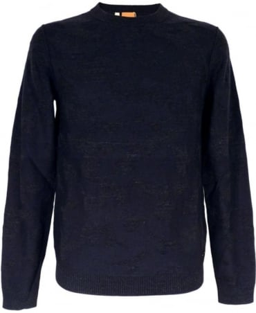 Hugo Boss 'Alphon' Patterned Sweater In Dark Blue