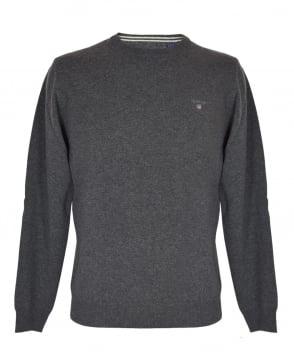 Gant Antracit Melange Crew Neck Lambswool Sweater