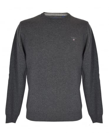 Antracit Melange Crew Neck Lambswool Sweater
