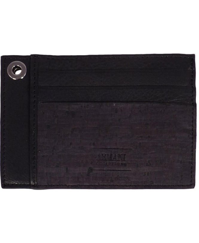 Armani Collezioni Black Leather Card Holder
