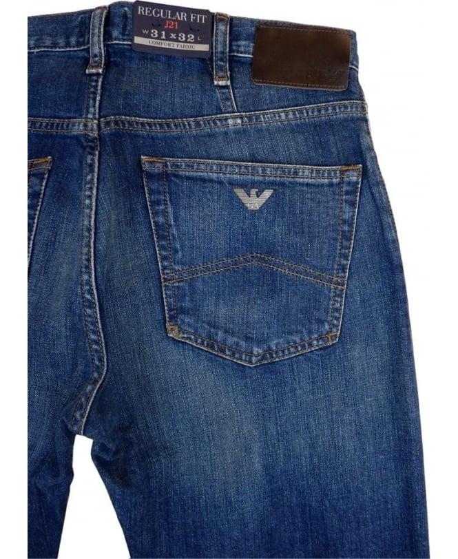 finest selection aaa95 eea0b J21 Regular Fit Jeans In Mid Blue
