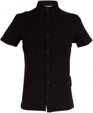 Armani Jeans Black Extra Slim Fit Shirt In Pique And Jersey