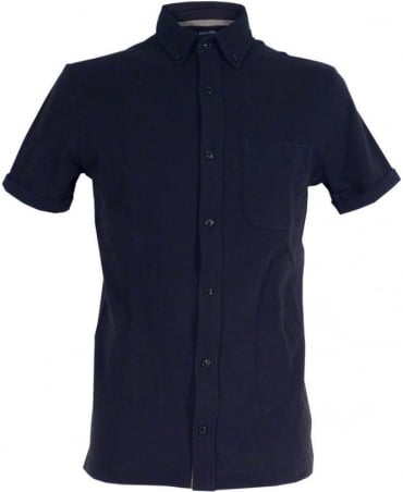 Armani Jeans Dark Blue Extra Slim Fit Shirt In Pique And Jersey