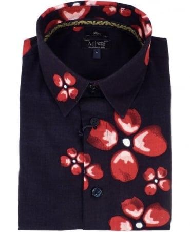 Armani Jeans Dark Blue Flower Print Shirt
