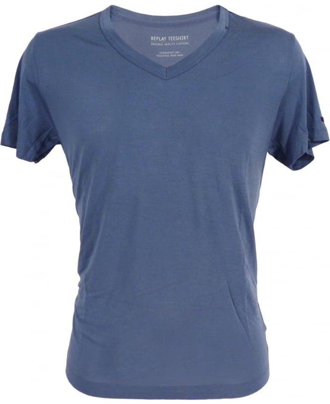 Replay Bamboo Fibre T Shirt In Blue T Shirts From