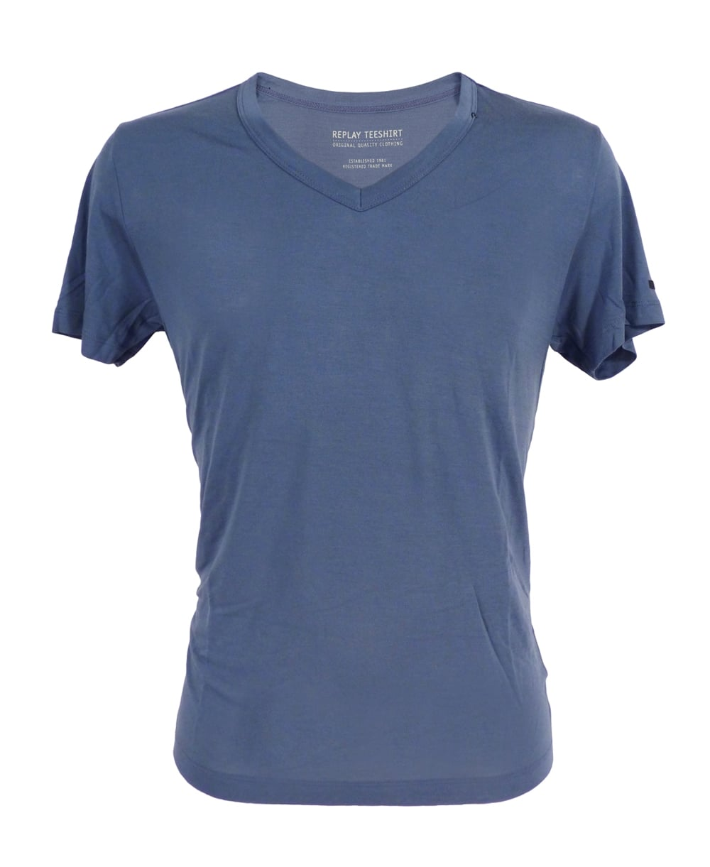 Replay bamboo fibre t shirt in blue replay from jonathan for Bamboo t shirt printing