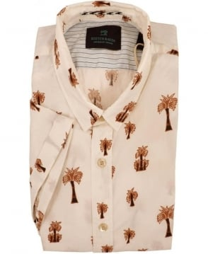 Scotch & Soda Beige 1501-02.21127 Palms Tree Print Short Sleeve Shirt