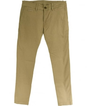 Beige Chi-Shaped Five Pocket Chino