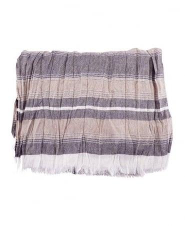 Hamaki-Ho Beige & Grey Stripe Pashmina Scarf