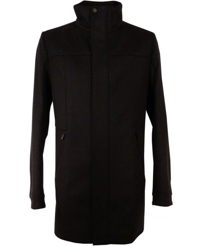 Hugo Black 50299049 Wool Cashmere Blend Coat
