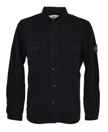 Stone Island Black 511102 Brushed Cotton Overshirt