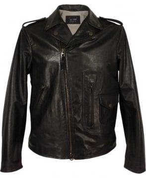 Armani Black A6B27LC Leather Biker Jacket