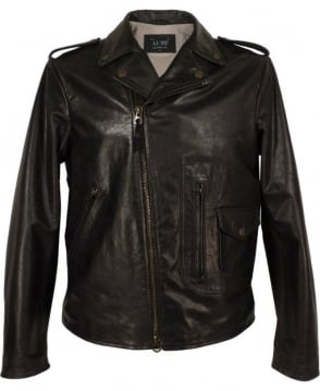 Armani Jeans Black A6B27LC Leather Biker Jacket
