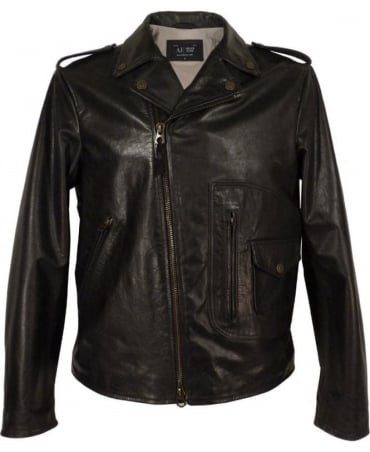 Armani Black A6B27LC Leather Biker Jacket