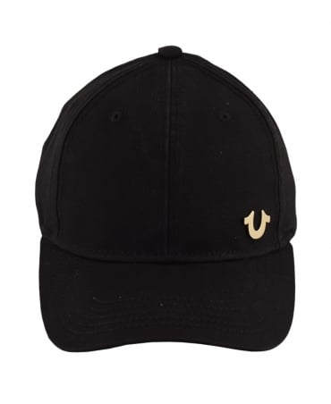 True Religion Black Adjustable Gold Logo Cap