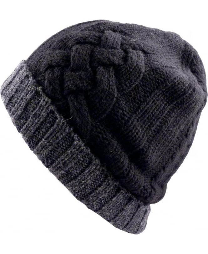 Paul Smith - Accessories Black And Grey Cable Knit ANXA-650C-H264 Beanie Hat