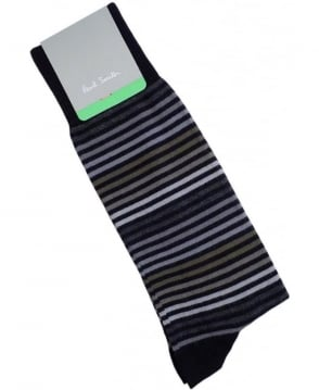 Paul Smith - Accessories Black APXA-380A-K155 Tonal Stripe Socks