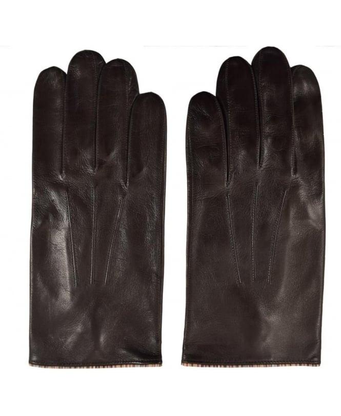 Paul Smith Black ARXC-028D-G21 Vintage Trim Leather Gloves