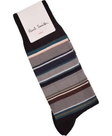 Paul Smith  Black ARXC-380A-K281 Val Stripe Socks