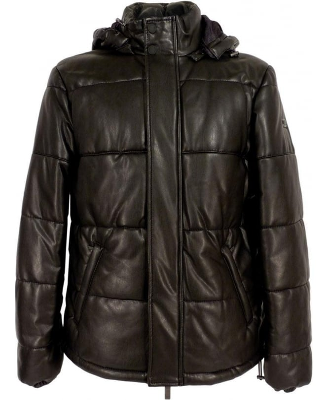 Armani Black B6B76 Quilted Eco Leather Coat