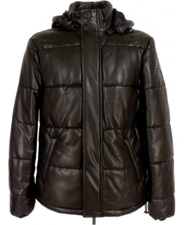 Black B6B76 Quilted Eco Leather Coat