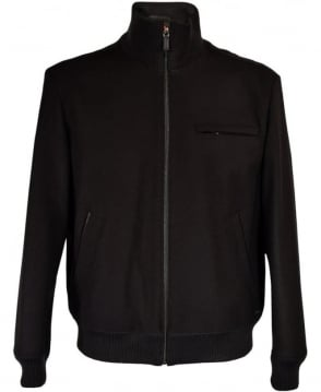 Hugo Black Belvor Ribbed Collar Blouson