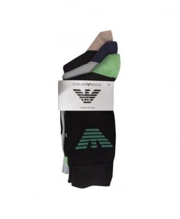 Armani Black & Blue 3 Pack Socks