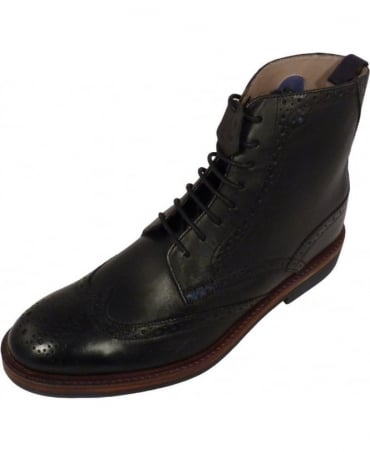 Oliver Sweeney Black Brogue Lace Up Airton Boot